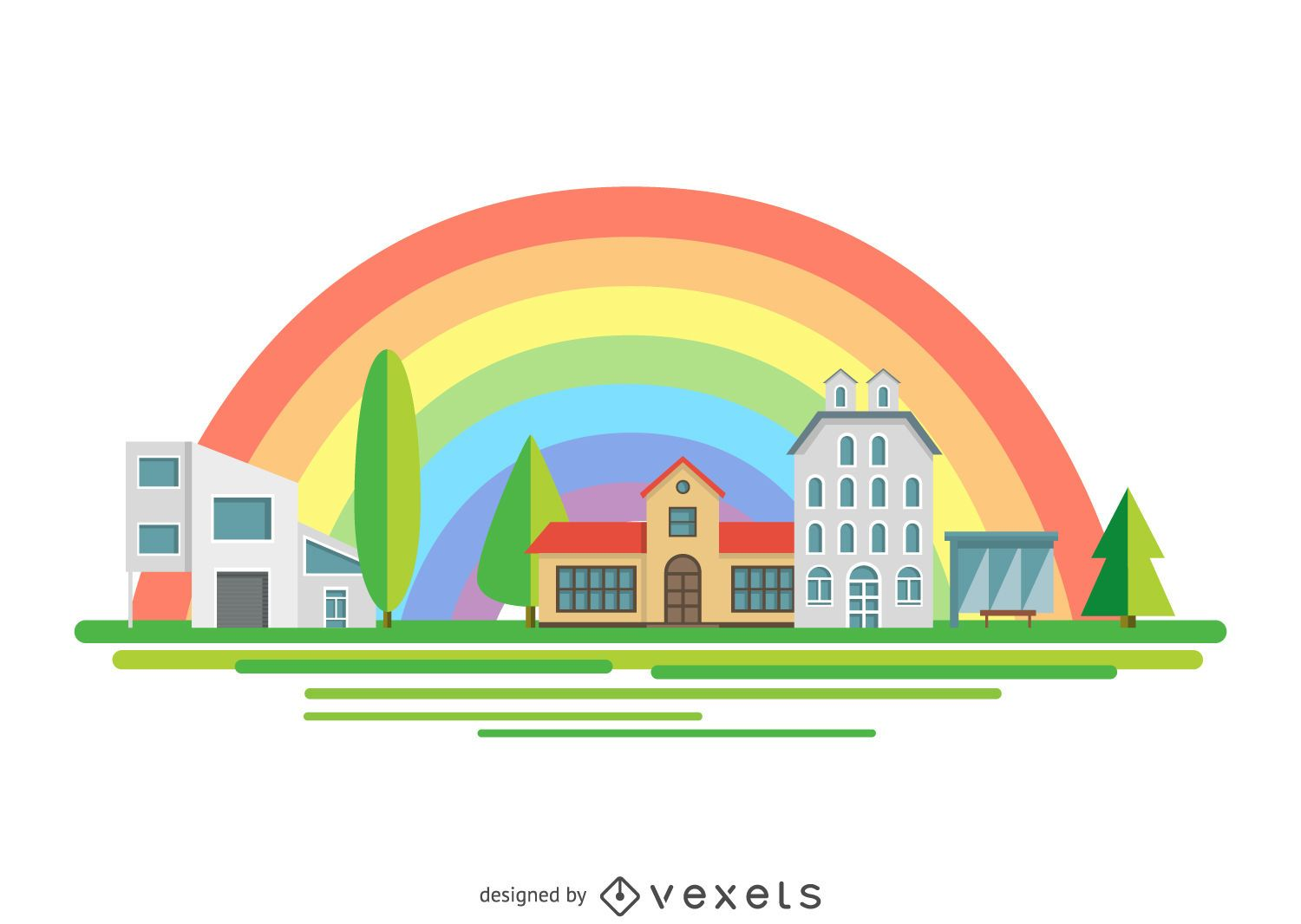 Town road over rainbow