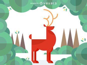 Ilustración geométrica de los ciervos