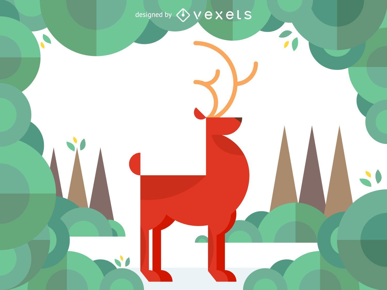 Ilustración de ciervo geométrico