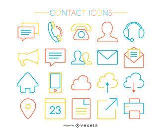 Conjunto de ícones de contato de traço colorido