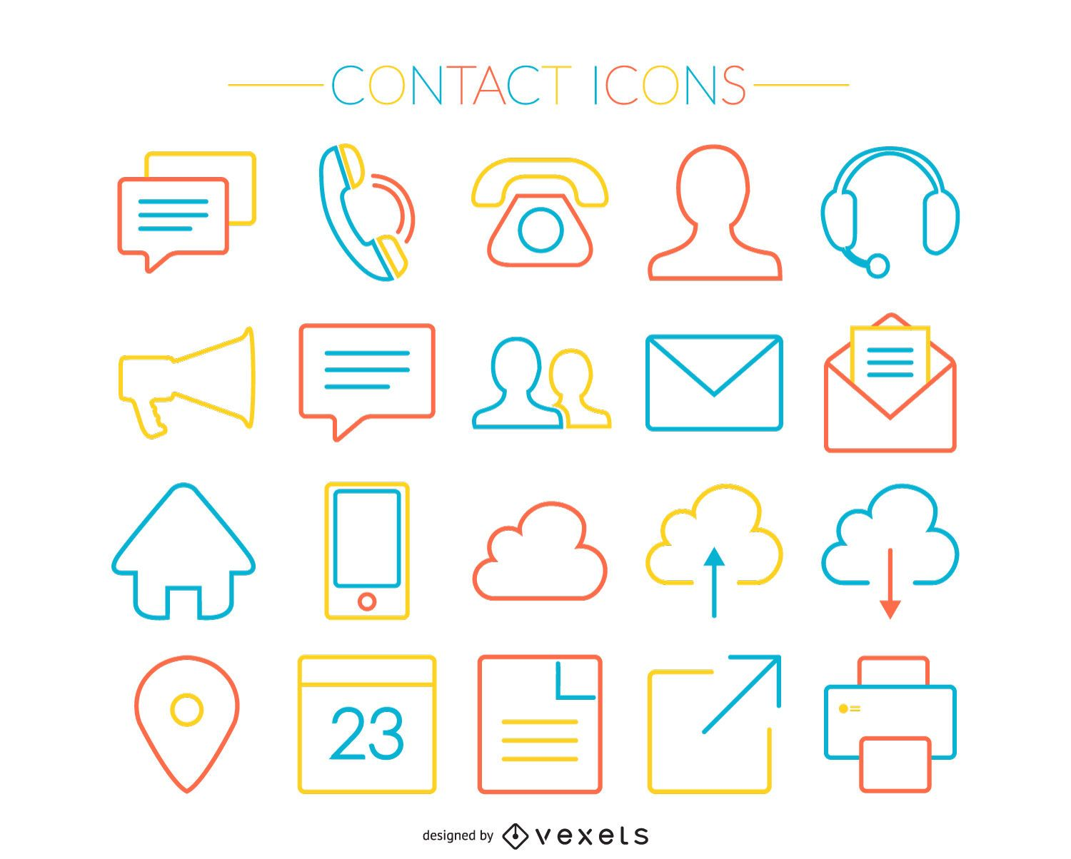 Colorful stroke contact icons set