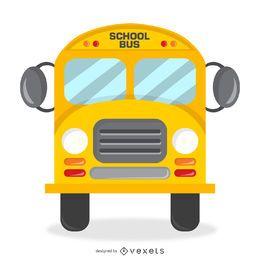 Diseño de bus escolar aislado con detalles.