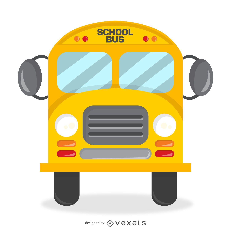 Diseño de autobús escolar aislado con detalles