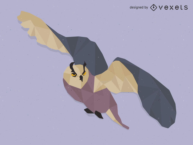 Low poly owl illustration