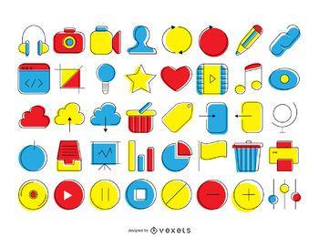Coleção dos ícones de contato coloridas