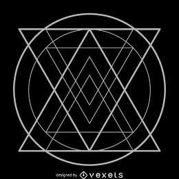 Triángulos dentro del círculo geometría sagrada.