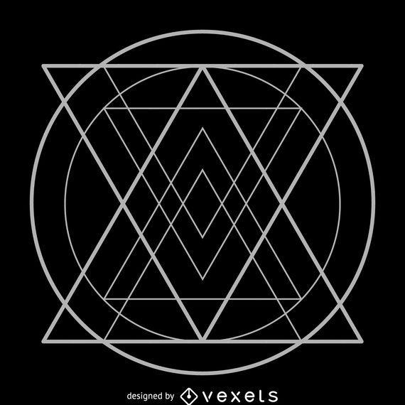 Triangles inside circle sacred geometry