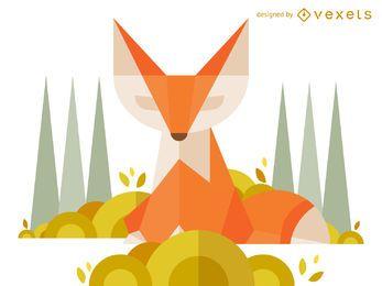 Ilustração de raposa poligonal geométrica