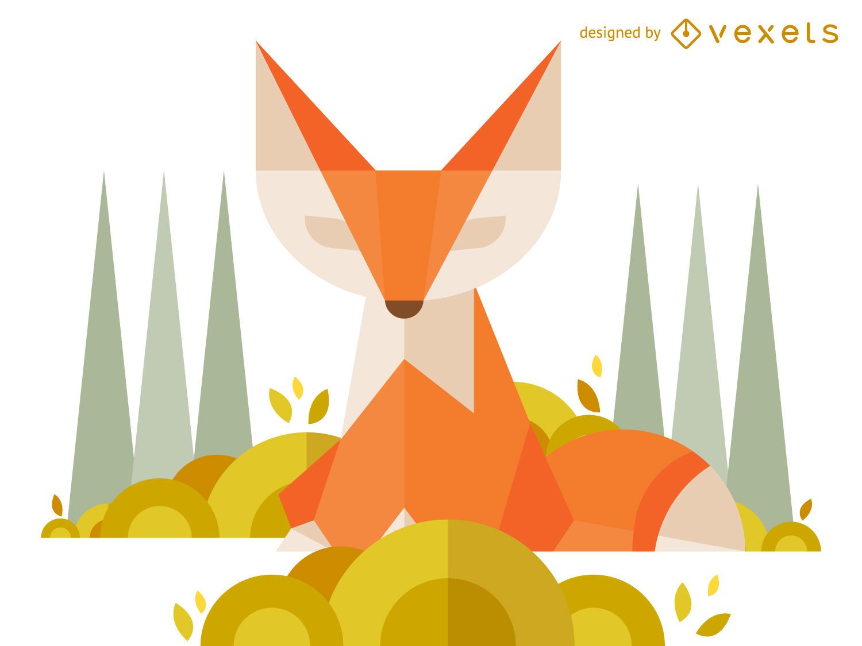 Geometric polygonal fox illustration