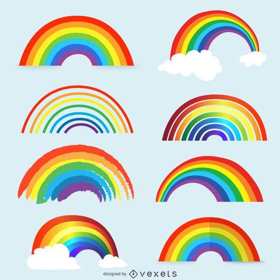 Conjunto de ilustração de arco-íris isolado