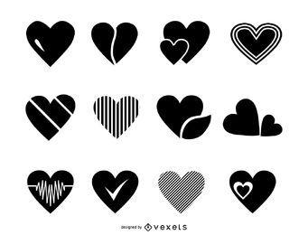 Coração coleção logotipo modelo