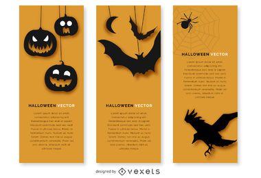 banner de Halloween conjunto con siluetas