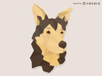 Ilustração baixo cão poli