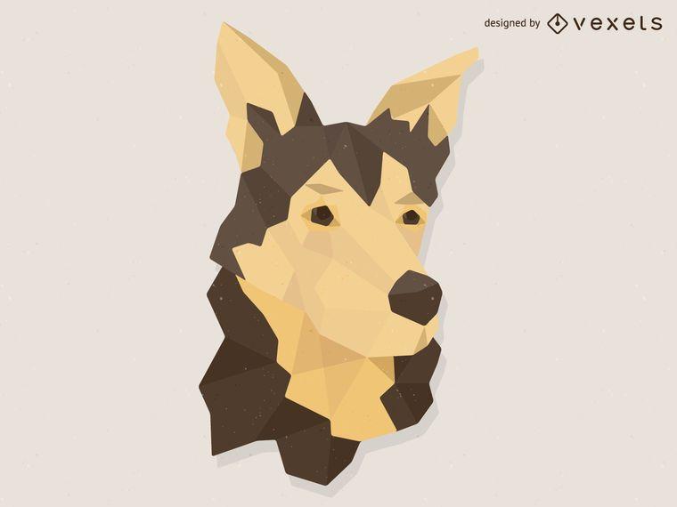 Ilustración de perro de baja poli
