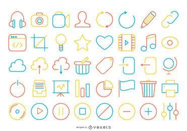 accidente cerebrovascular brillante colección de iconos de contacto