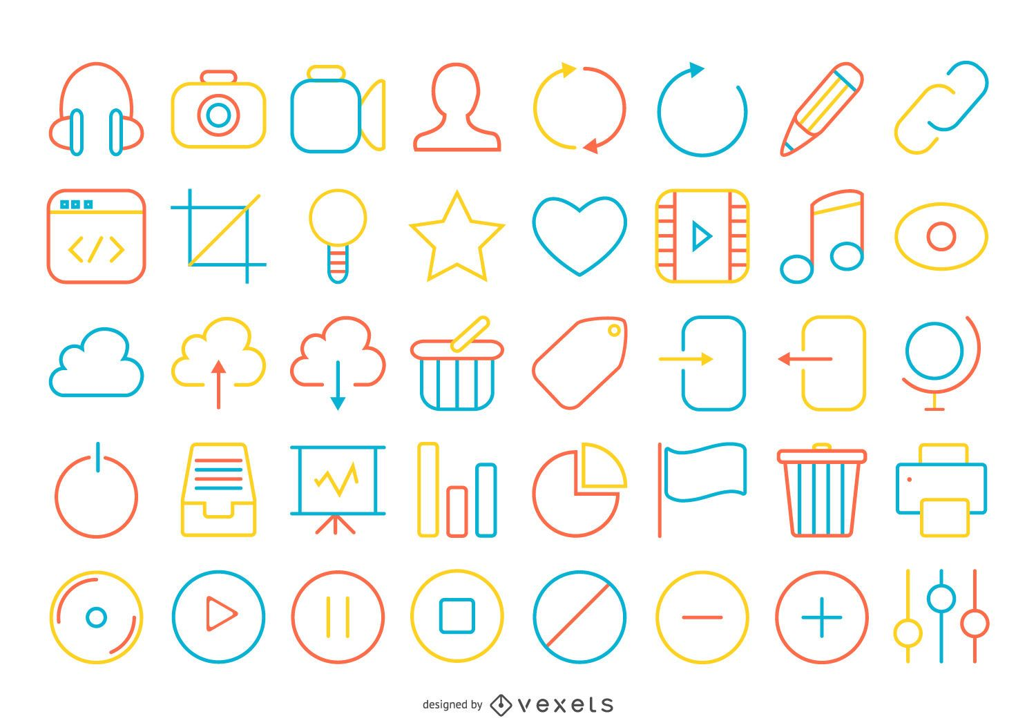 Bright stroke contact icon collection