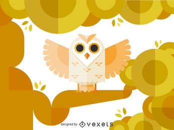 Geometric polygonal owl illustration