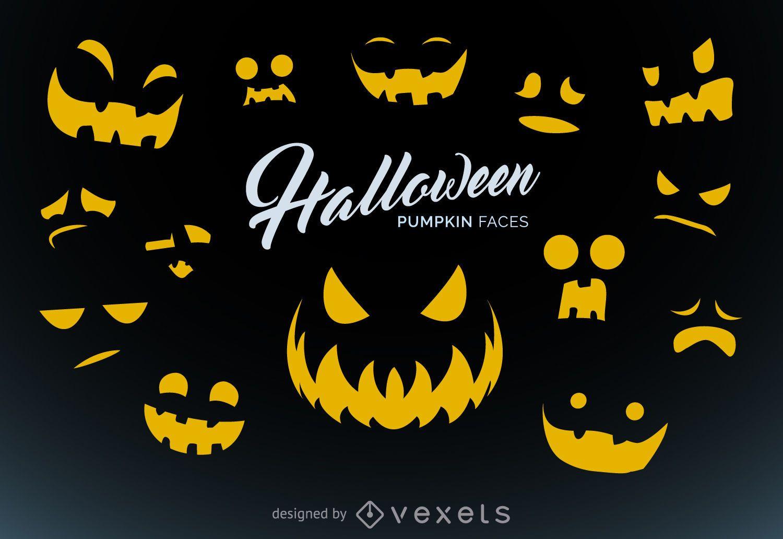 Talla de la calabaza de Halloween plantillas - Descargar vector