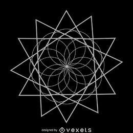 Flor con triángulos de geometría sagrada.