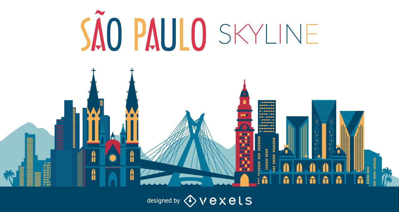 Ilustração do horizonte de São Paulo