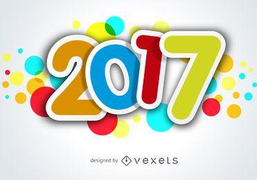 Bunte 2017 Aufkleber Zeichen