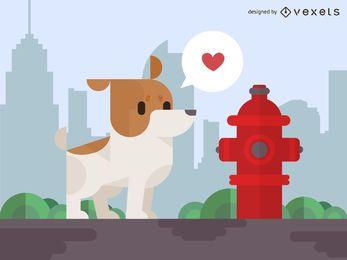 Perro geométrico con boca de incendio.