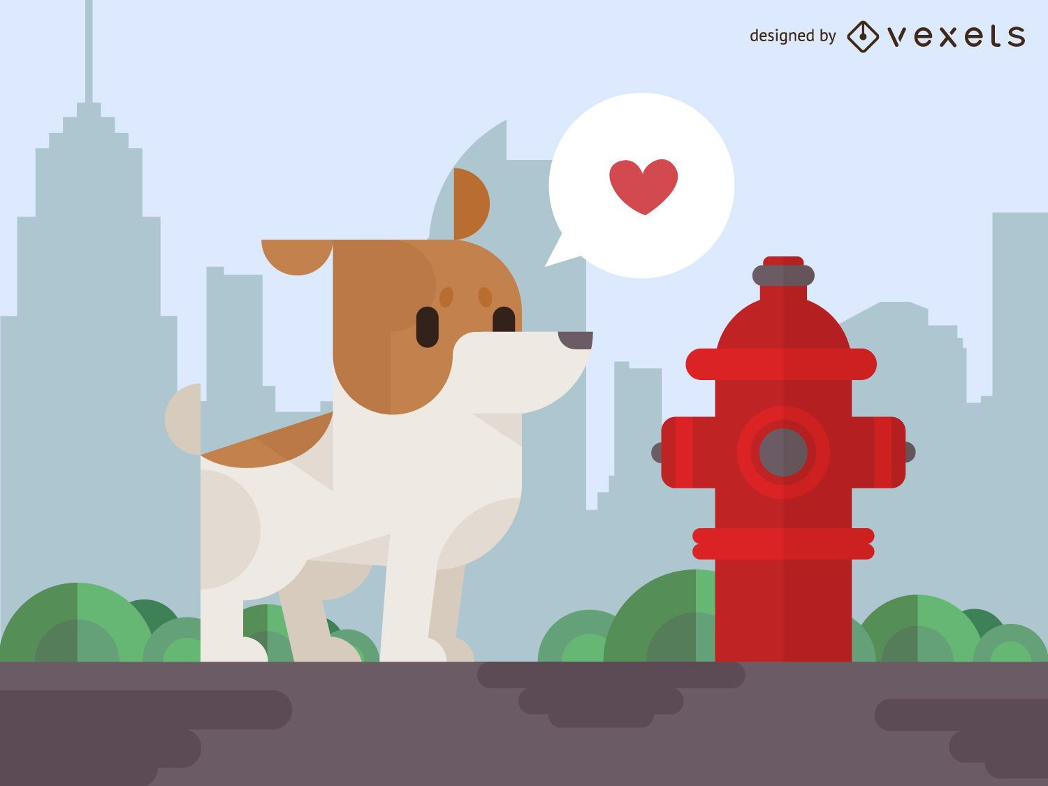 Geometric dog with fire hydrant