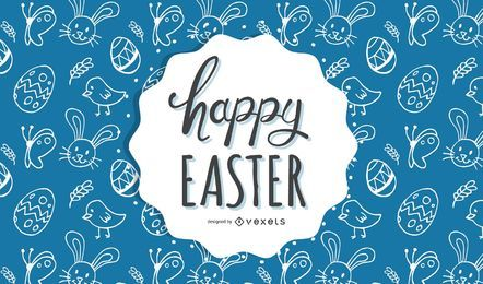 Blue background with easter folk motives