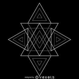 Muchos triángulos de geometría sagrada diseñan.