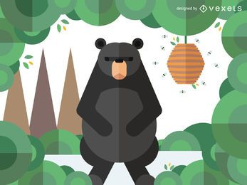 Geometric bear illustration