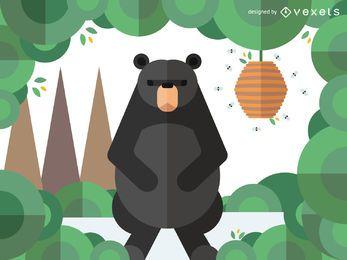 Ilustración de oso geométrico