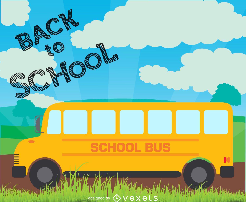 Ilustração de volta ao ônibus escolar