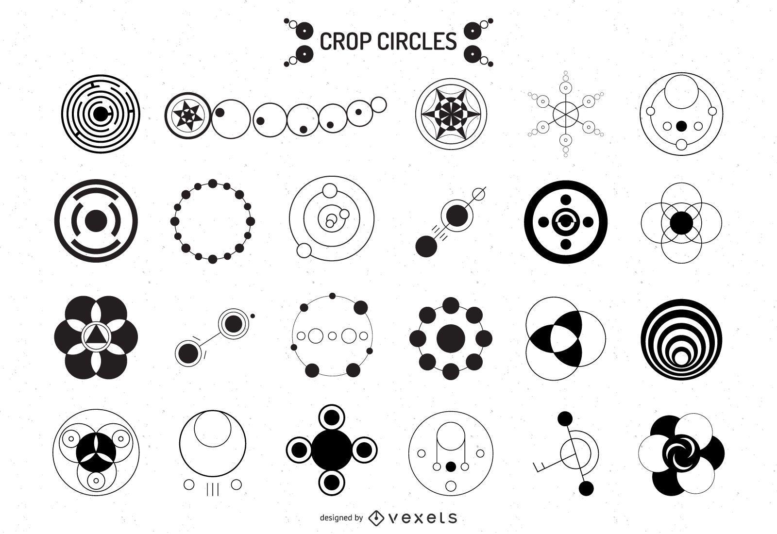 Colección de diseño de silueta de círculo de cultivo