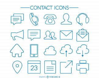 Ícones de contato de traçado azul