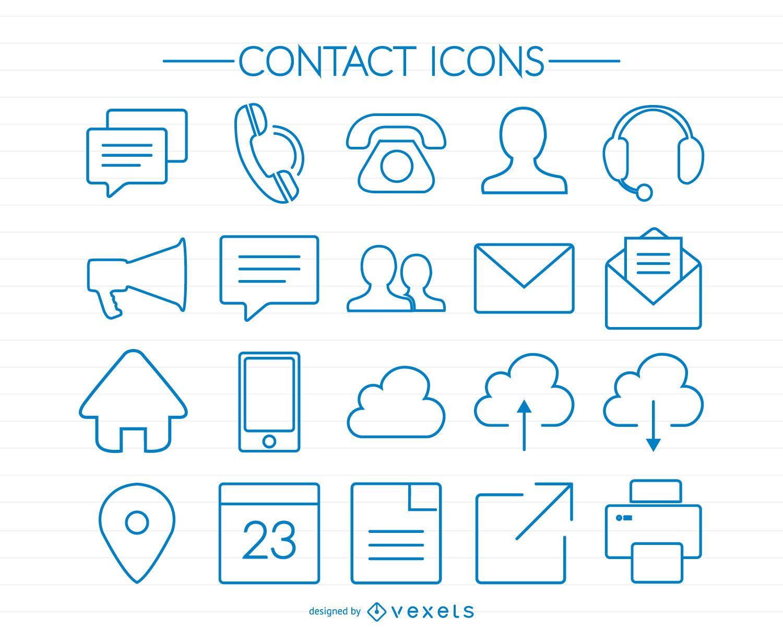 Ícones de contato de traço azul