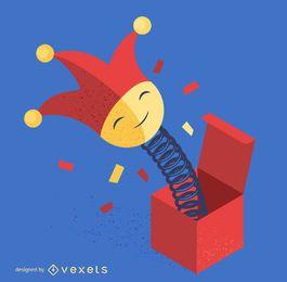 Jack em uma ilustração de palhaço de caixa