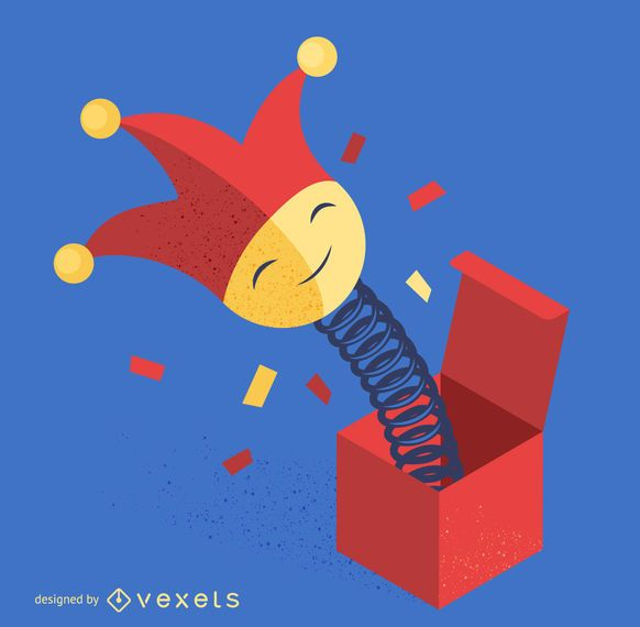 Jack in a box joker illustration