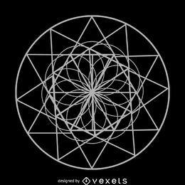 Desenho de geometria sagrada de flor de círculo