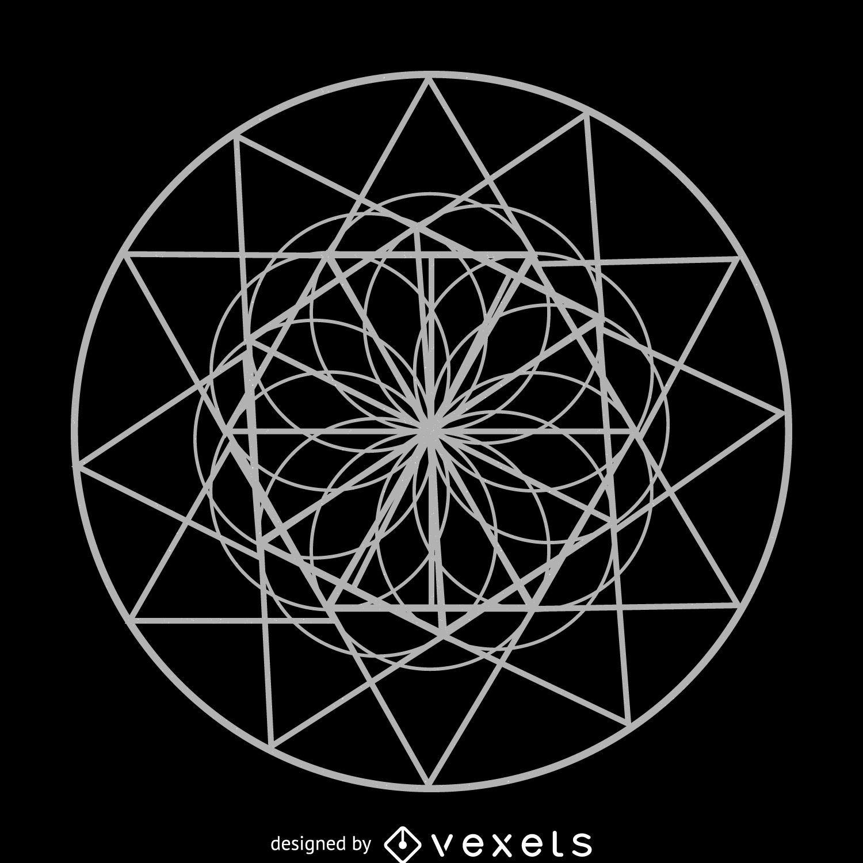 Circle flower sacred geometry drawing