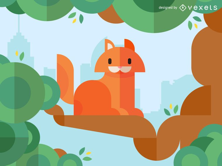Geometric cat illustration