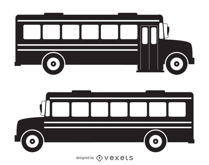 Silhueta de ônibus escolar isolado