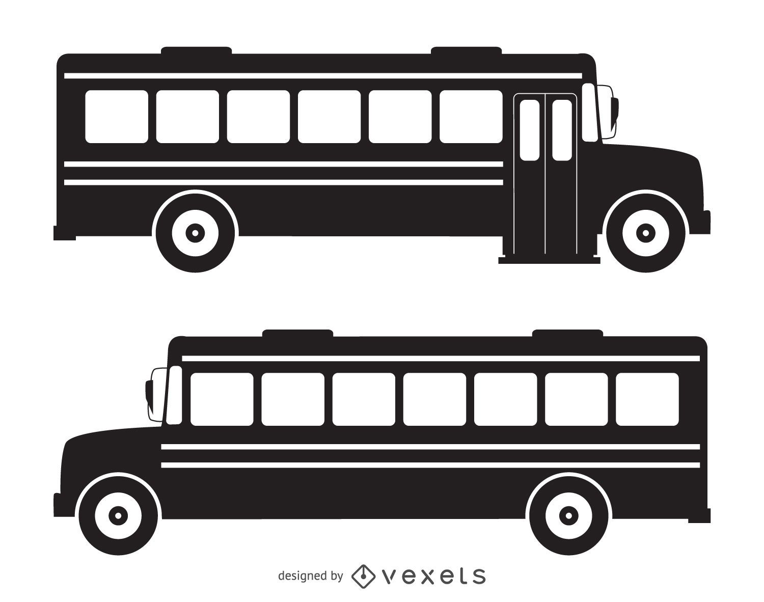 Isolated school bus silhouette