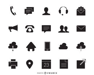 Conjunto de iconos de contacto silueta