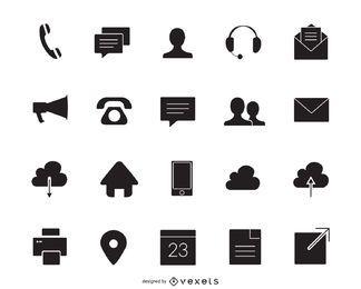 Contacto conjunto de iconos de la silueta