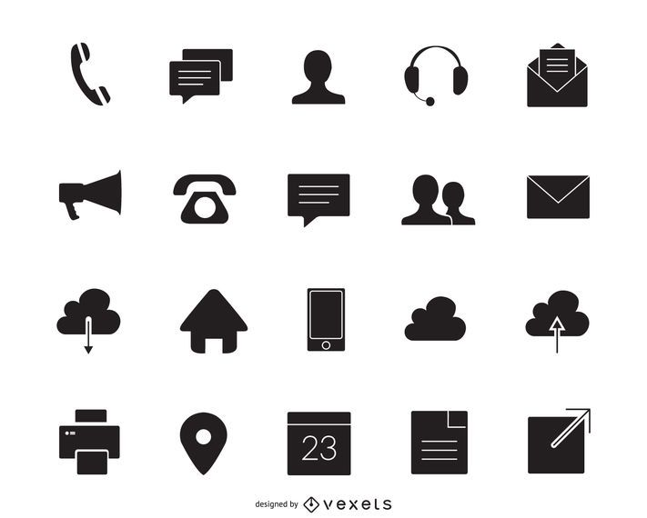 Contact icons silhouette set - Vector download
