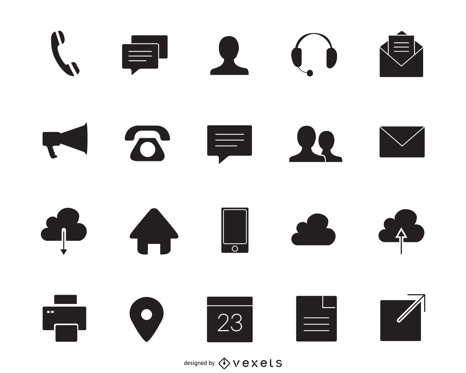 Contact icons silhouette set