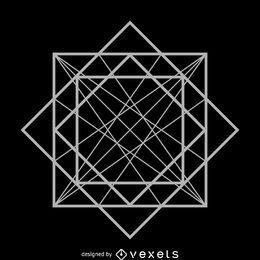 Diseño de geometría sagrada cubo abstracto