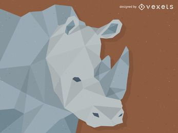 Low poly rhino illustration