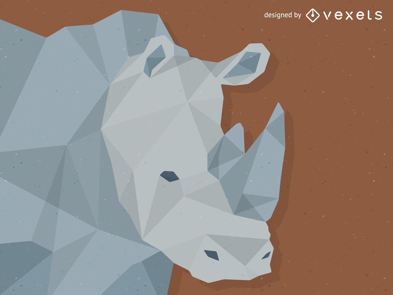 Low poly rhino illustration