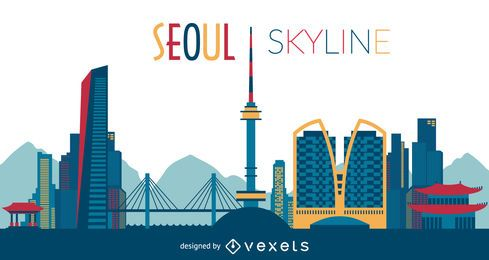 Colorful Seoul skyline silhouette